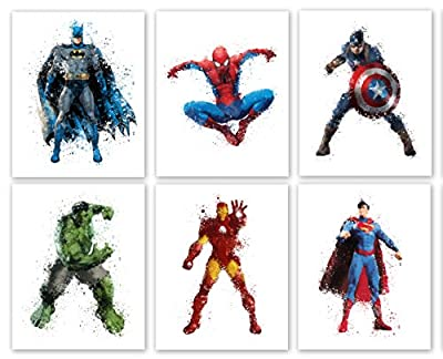 "Superhero Collector Prints - Set of Six Photos (8"" x10"") Unframed - Batman, Spiderman, Captain America, Hulk, Iron Man, and Superman"