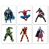 "Superhero Collector Prints - Set of Six Photos (8"" x10"") Unframed - Batman, Spiderman, Captain America, Hulk, Iron Man, and Superman - Great Gift for Boy's Room Decor"