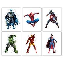 "Superhero Collector Prints - Set of Six Photos (8"" x10"") Unframed - Batman, Spiderman, Captain America, Hulk, Iron Man, and Superman - Great Gift for Boy's Room Decor"