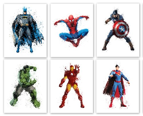 superhero-collector-prints-set-of-six-photos-8-x10-unframed-batman-spiderman-captain-america-hulk-ir