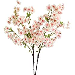 Htmeing 2 Pieces Artificial Silk Cherry Blossom Flowers for Wedding Centerpieces Floral Arrangement Decorations (Pink)