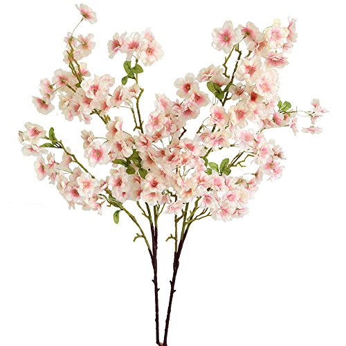 Htmeing 2 Pieces Artificial Silk Cherry Blossom Flowers for Wedding Centerpieces Floral Arrangement Decorations (Pink) -