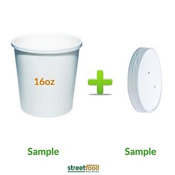 Recipiente desechable para sopa, Envase carton blanco para ...