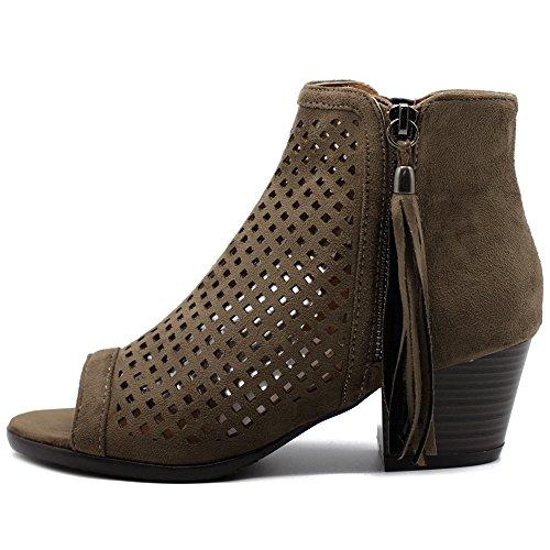 Picture of Ollio Women Shoe Suede Zip up Cutout Ankle High Heel Bootie