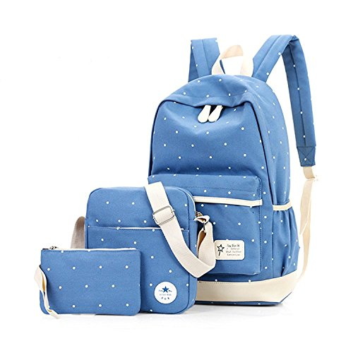 Light Backpack14 Shoulder Boys For Blue Onenice Set Casual Lightweight Pcs Canvas Girls Style Bag qwO7S7Hfz