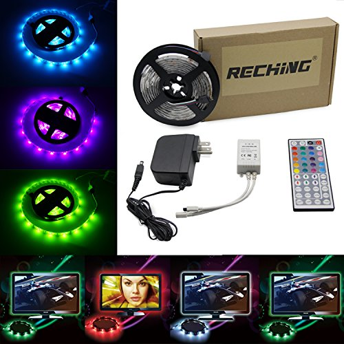 RECHING LED Strip Lights Waterproof 5050 RGB TV Light 7 Ft (2.5M) 75LEDs Roll Light Kit with 44 keys Remote Controller and Power Supply Color Changing Lighting for Holiday Party/House/Garden (Multi Weather Line)