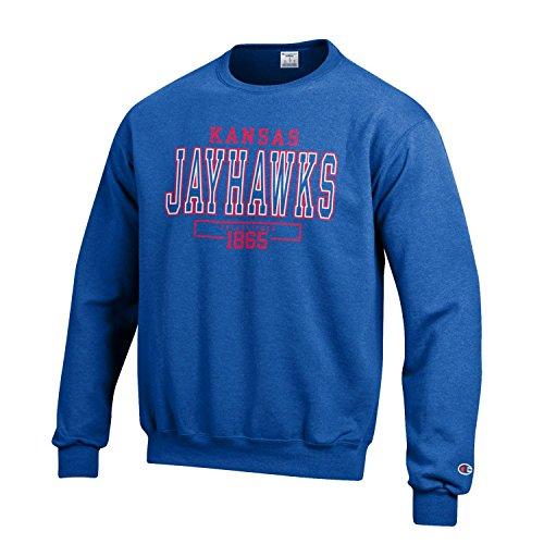 Champion NCAA Men's Long Sleeve Eco Powerblend Sweatshirt Unisex Officially Licensed Crewneck Fleece Kansas Jayhawks XX-Large