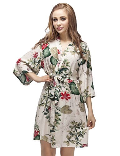 Skyfitting Women's Kimono Robe, Short Length Cotton Bridesmaid Robes Regular Size / 36