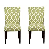 HomePop Parsons Classic Upholstered Accent Dining Chair, Set of 2, Green and Cream Geometric