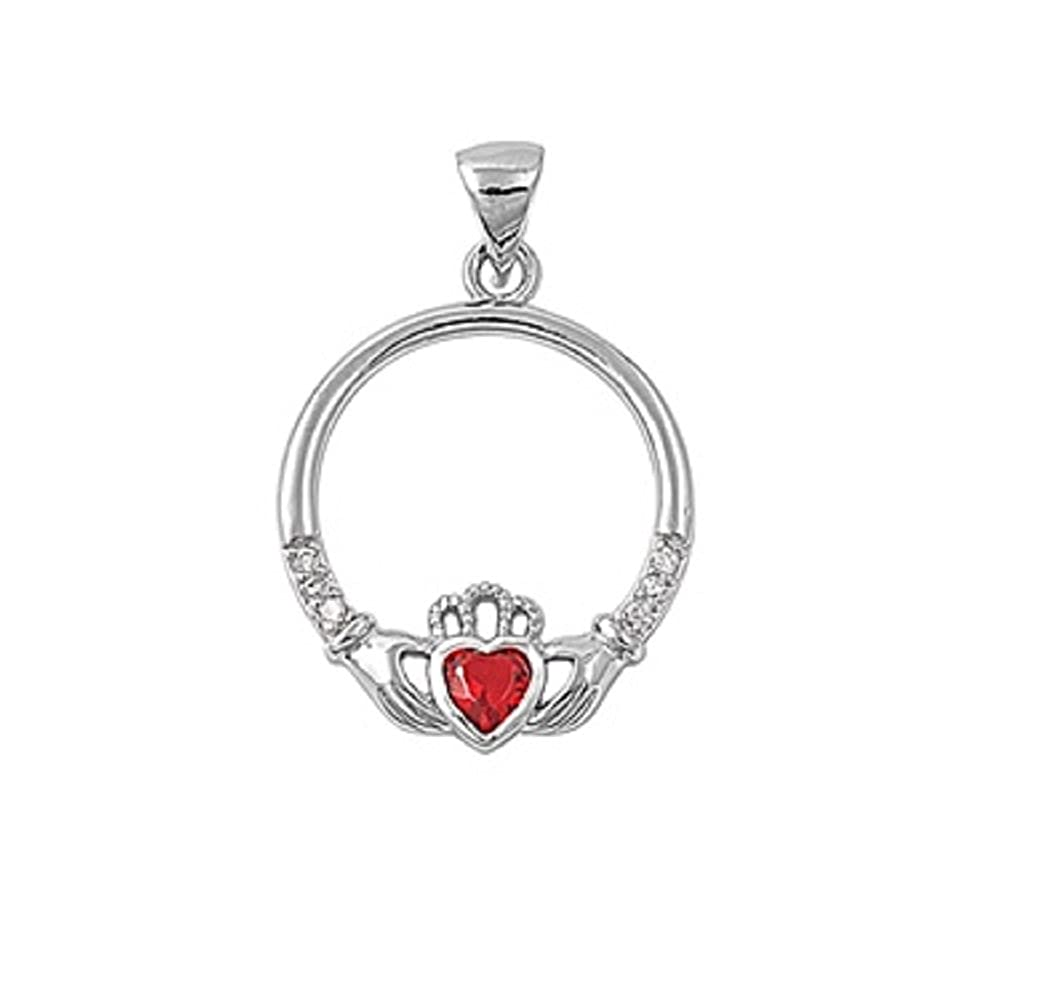 CloseoutWarehouse Simulated Garnet Cubic Zirconia Two Toned Heart Claddagh Pendant Sterling Silver