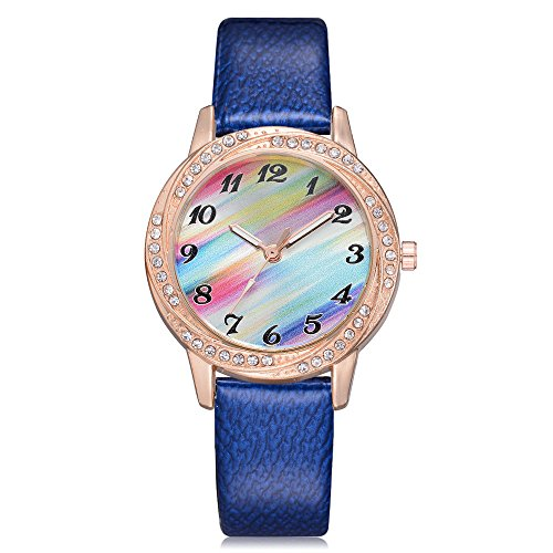 Womens Quartz Watches COOKI Fashion Metal Retro Rainbow Round Dial Quartz Analog Wrist Watch with Leather Band, Lady Watches Female Watches on Sale Watches for Teen Girls ()