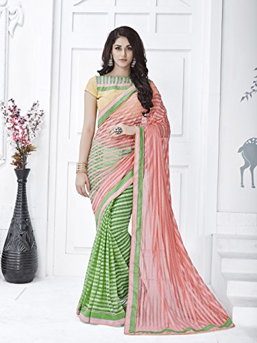 Viva-N-Diva-Peach-And-Green-Net-Saree-With-Unstitched-Blouse-Piece