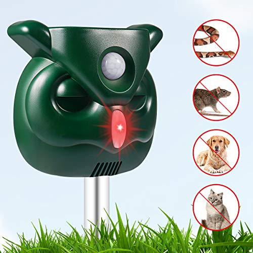 PETBROO Dog Cat Repellent, Ultrasonic Animal Repellent with Motion Sensor and Flashing Lights Outdoor Solar Powered Waterproof Farm Garden Yard Repellent, Cats, Dogs, Foxes, Birds, Skunks, Rod