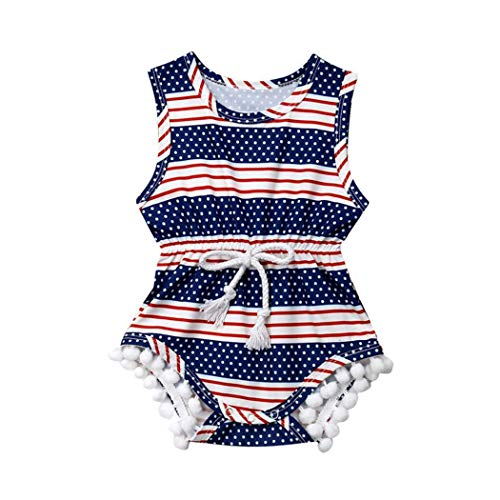 Infant Baby Girls Floral Pompom Tassels Romper Bodysuit Sleeveless Jumpsuit Outfit Summer Clothes