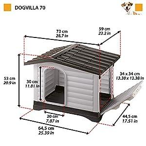 Ferplast-Caseta-para-perros-de-exterior-DOGVILLA-70-Pared-lateral-abatible-Sistema-de-drenaje-de-liquidos-Rejilla-de-ventilacion-Puerta-con-perfil-de-aluminio-73-x-59-x-h-53-cm