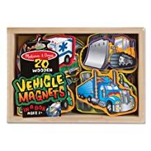 Melissa & Doug Wooden Vehicle Magnets in a Box (20 pcs)