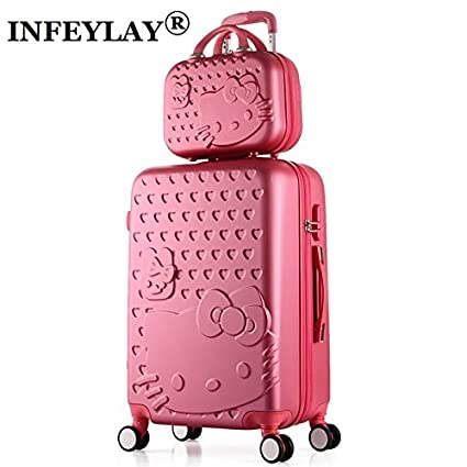 2PCS SET Lovely 14inch Cosmetic bag hello Kitty 20 24 inches girl students  trolley case Travel luggage woman rolling suitcase  Amazon.in  Bags 57bb2c28cbbf6