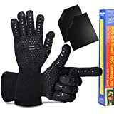 MAiCH BBQ Grill Gloves Heat Reistant- Fireproof Oven Gloves with Set of 2 Non-Stick Heavy Duty Grill Mats for Kitchen Smoker Baking Cooking Barbecue Grilling Potholders Camping Mitts (1 Pair) (Black)