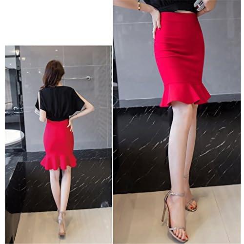 U-WARDROBE Women's High Waist Wear to Work Stretchy Pencil Skirts Fishtail Hem Bodycon Midi Skirt Red 2XL
