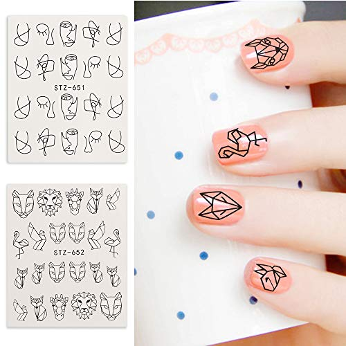 EVERYDI 5Pcs/lot Beauty Animal Cartoon Designs Water Stickers For Nails Black Manicure Nail Art Decorations Sticker Water Decals Tips