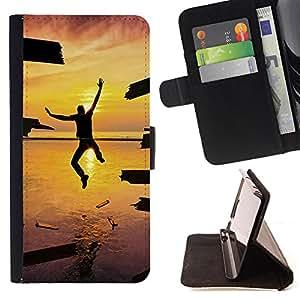 Devil Case- Estilo PU billetera de cuero del soporte del tir¨®n [solapa de cierre] Cubierta FOR Samsung Galaxy S3 MINI I8190- Sunsine Fly Man sea