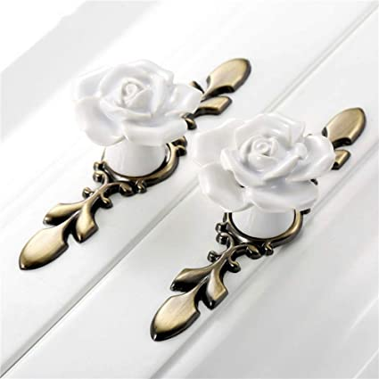 Delicieux SCTD Rose Ceramic Cabinet Knobs With Green Bronze Backplate, Vintage Kitchen  Flower Drawer Pull Handles