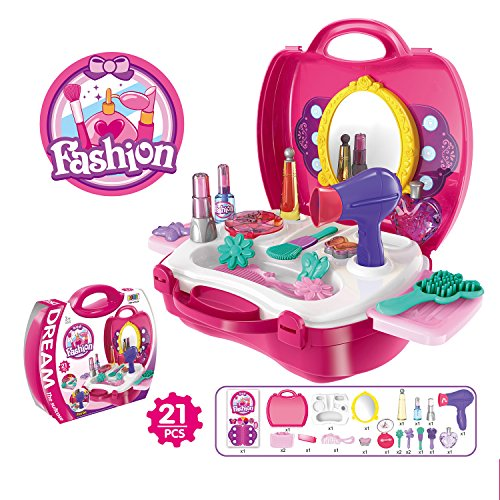 861 Kit Process (SZJJX Kids Toy Make Up Set Case Deluxe Simulation Make Up Kits Box Role Play Pretend Play Toys Plastic Portable Playset with Handy Storage Bag)