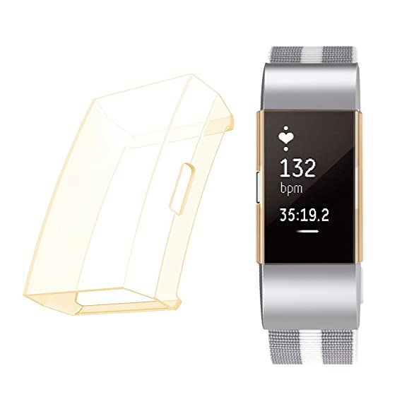 Minfex - Carcasa protectora de pantalla para Fitbit Charge 2, suave TPU a prueba de arañazos, marco transparente, accesorios para Fitbit Charge 2 Fitness ...