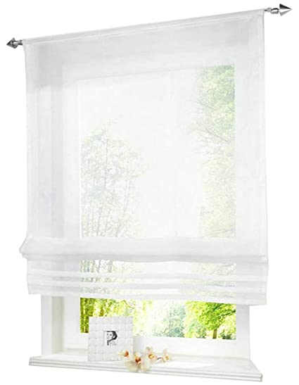 HomeyHo Rod Pocket Curtain Sheers Window Treatment Curtain Sheer Curtains  for Bedroom Sheer Window Roman Curtain for Windows Sheer Curtain for Bed ...