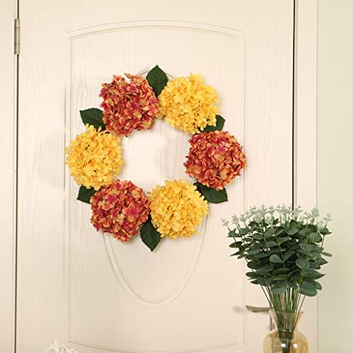 Transser Handmade Artificial Flower Wreath, Door Backdrops Ornaments Floral Twig Wreath Artificial Flowers Garland for Front Door, Wall, Wedding, Home Decor