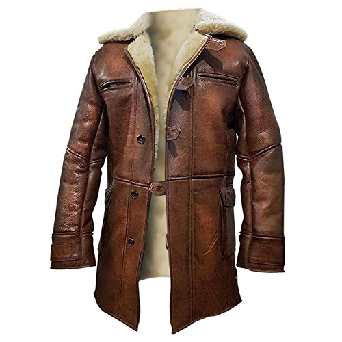 (Tom Hardy Bane Dark Knight Lambskin Shearling Genuine Leather Pea Coat (XX-Large, 100% Hi-Quality Real Leather with Off-White Fur Lining))