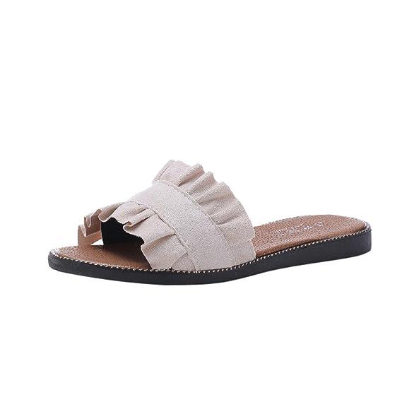 Hausschuhe Damen Sommer LUCKYCAT Mode Frauen Spitze Pure Farbe Flache Ferse Ein Wort Drag Beach Schuhe Coole Pantoffeln...