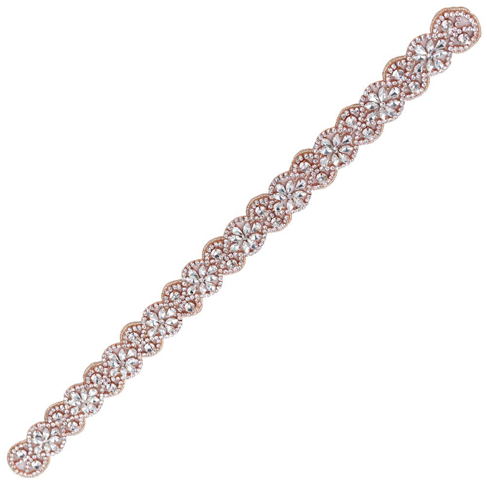 XINFANGXIU Rose Gold Bridal Rhinestone Appliques Sash Crystal Wedding Dress Belt Sew on Iron on for Formal Dress
