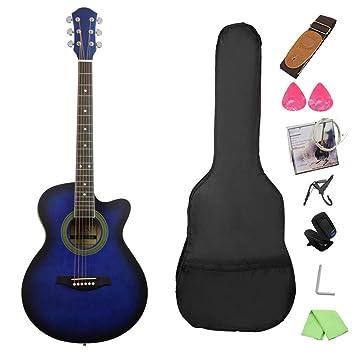 NUYI-4 40 Pulgadas Guitarra acústica Azul Estudiante enseñando 40 Pulgadas de Guitarra de Esquina para Enviar un Conjunto Completo de Accesorios: Amazon.es: ...