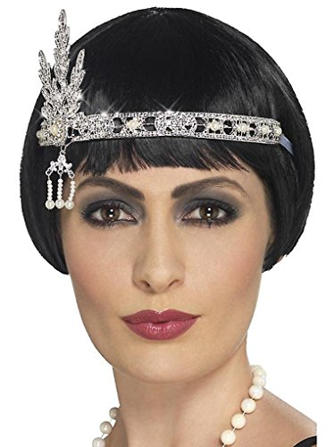 Faerynicethings Adult Size Flapper Jewel Headband Silver - Costume Accessory - Roaring -