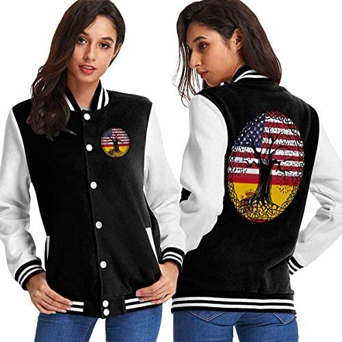 BYYKK Mujer Chaquetas Ropa Deportiva Abrigos, American Heart Spain Flag Roots Women's Long Sleeve Baseball Jacket Sweater Coat