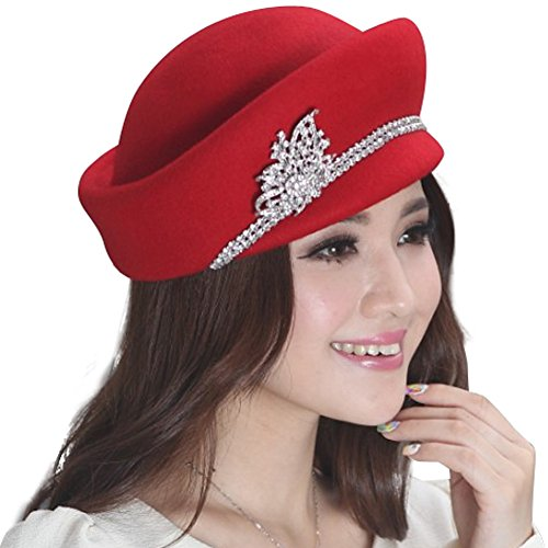Small Brim Wool Felt Hat (June's Young Wool Felt Hats for Women Winter Hat Small Brim Red)