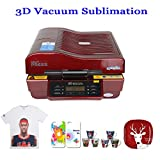 PanelTech 3D Vacuum Sublimation Machine Heat Press Mug/Cup/Iphone Case/Plate Printing Transfer Machine (Red)
