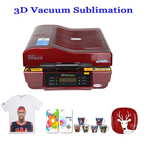 PanelTech 3D Vacuum Sublimation Machine Heat Press Mug/Cup/Iphone Case/Plate Printing Transfer Machine (Red) by PanelTech