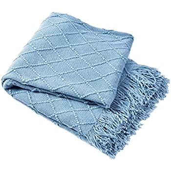 """BOURINA Coral Throw Blanket Textured Solid Soft Sofa Couch Cover Decorative Knitted Blanket, 50"""" x 60"""", Blue"""