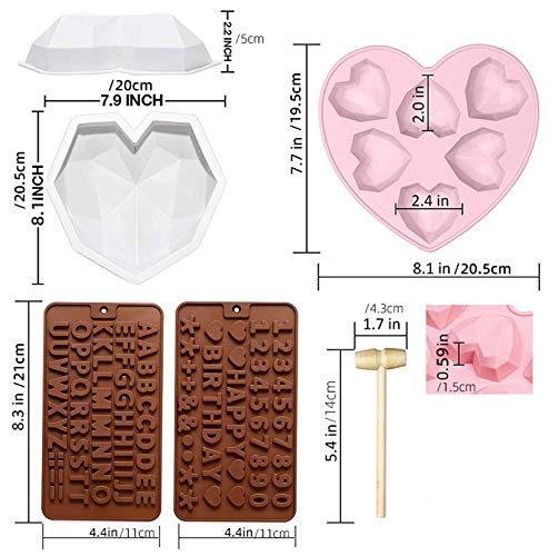 Diamond Heart Shaped Silicone Chocolate Mold, 7pcs Diamond Heart Mousse Cake Mold Trays with Wooden Hammers, Number and Letter Mold, Heart Button Fondant Mold for Valentine Candy Chocolate