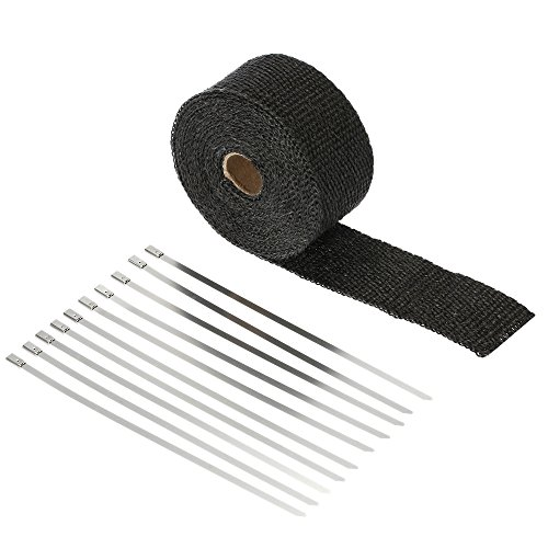 KKmoon 2'' Wide Exhaust Heat Wrap Turbo Pipe Heat Insulated Wrap with 10pcs Stainless Steel Zip Ties for Car Motorcycle