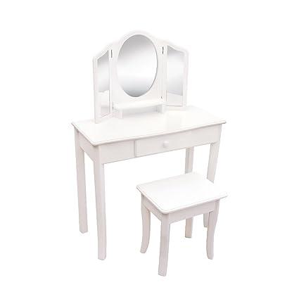 Guidecraft Classic White Vanity and Stool w/Storage Set - 3 Mirrors, Drawer - G85710