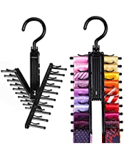 IPOW Upgraded 2 PCS See Everything Cross X 20 Tie Rack Holder,Rotate to Open/Close Tie and Belt Hanger with Non-Slip Clips,360 Degree Swivel Space Saving Organizer