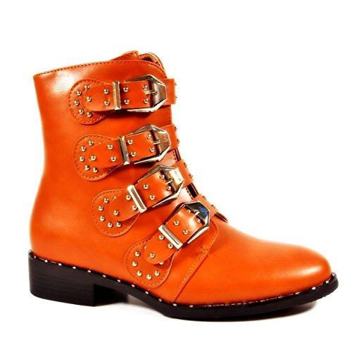 King Of Shoes Bequeme Damen Nieten Stiefeletten Bikerboots Halbschaft Halbhohe Stiefel Blockabsatz QN Camel 80