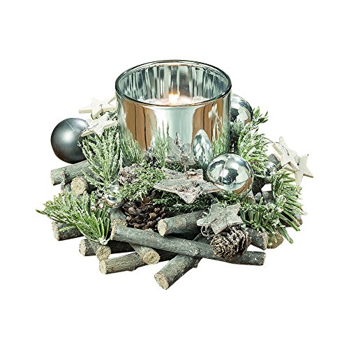 The Cape Cod Star Festive Table Top Centerpiece, Set of 2, Artisinal Design Candle Holder Wreath, Natural Evergreens, Silver Star, Balls,Glass Cup, Pine Cones, Twigs, 6 Inch, By Whole House Worlds