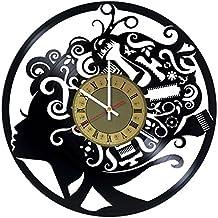Hair stylist barber shops tools Art Decor vinyl record wall clock - gift idea for hairdressers,hair stylists, barbers, hair stylists - barber shops and beauty salon house decor - customize your clock