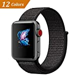 QIENGO For Apple Watch Band 42MM, Nylon Sport Loop with Hook and Loop Fastener Adjustable Closure Wrist Strap Replacment Band for iWatch Series 1/2/3, 42mm, Black (Pinkish Weave Color in)
