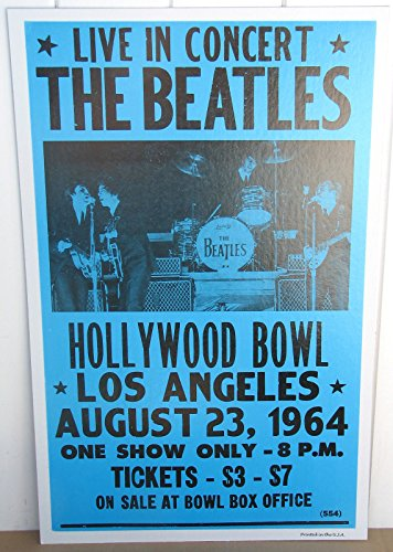 Vintage Beatles Concert Poster Hollywood Bowl LA 1964