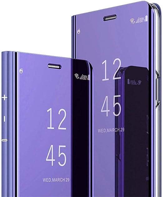 Hnzxy Compatible con Funda Sony Xperia XZ3 Carcasa Espejo Mirror PU Cuero Flip Caso Brillante Translucent Window View Funda Protector de teléfono [Magnético] [Soporte Plegable],Púrpura: Amazon.es: Hogar